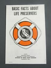 Vintage BASIC FACTS ABOUT LIFE PRESERVERS Flyer St of California Edmund G. Brown