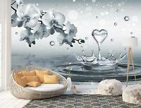 Wall Mural Photo Wallpaper Picture EASY-INSTALL Fleece Water Drops Heart Flowers