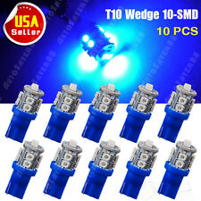 10PCS Ultra Blue 360°T10 10-SMD 168 194 2825 175 LED License Plate Lights Bulbs