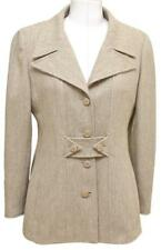 CHANEL Blazer Jacket Beige Wool Blend Gold Hw 36 Vintage 96A