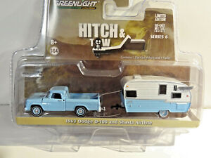 GREENLIGHT HITCH & TOW BLUE 1963 DODGE D-100 PICKUP & SHASTA AIRFLYTE CAMPER