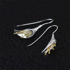 Pendiente Lirio ENTREPIERNA flores flores plata esterlina 925 Bañado en oro