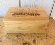 Solid Wood Large Pet Cremation Urn, Engraved Poem, - Pesonalization Front Option