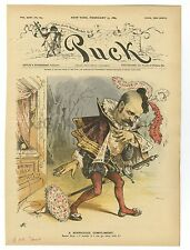 Puck Magazine Cover - Vintage February 13, 1889 Issue - David B. Hill