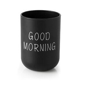 Bathroom Tumbler Good Morning Toothbrush Toothpaste Holder Washing Cup Mug Black