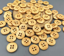 50pcs Round Wooden buttons Fit sewing Scrapbooking 4-holes craft 15mm