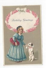 Antique Birthday Post Card Victorian Girl Holding Hands/Paws with her puppy