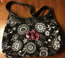 Thirty-One EDS Suite Skirt Purse Black Floral Brushstrokes