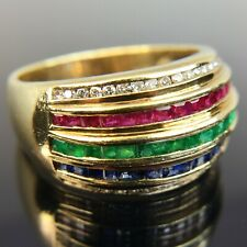 Le Vian 18k Yellow Gold Ring Diamond Ruby Emerald & Sapphire Band Size 8.25