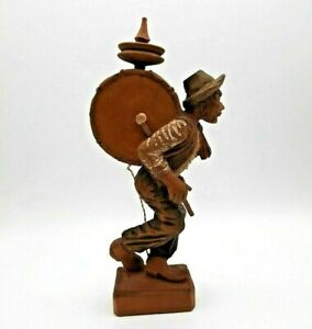 Vintage Hand Carved Wooden Figurine Musician One Man Band