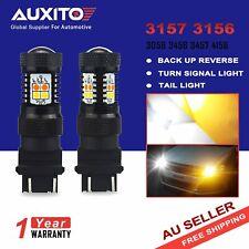 2xAUXITO 3157 3156 LED White Amber Switchback Turn Signal Brake Light Bulb Globe