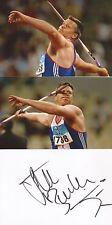 ATHLETICS: STEVE BACKLEY SIGNED 6x4 WHITECARD+2 UNSIGNED PHOTOS+COA *JAVELIN*