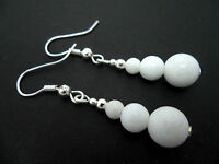 A PAIR OF PRETTY WHITE JADE BEAD  SILVER PLATED  EARRINGS. NEW.