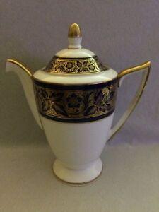 **BEAUTIFUL** Minton Cobalt Blue & Gold Coffee Pot