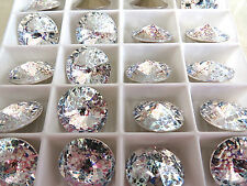 4 White Patina Foiled Swarovski Rivoli Stone 1122 14mm
