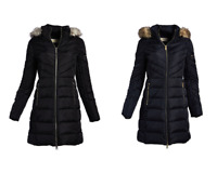 Michael Kors MK Women's Winter Coat Faux Fur Removable Collar Puffer Down Jacket