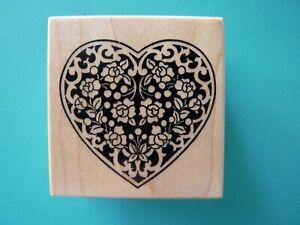 Ornate Floral Heart E-224 PSX Rubber Stamp