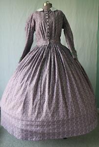 Civil War Era 1860-65 Reenactment Drop Sleeve Cotton Camp/Day Dress