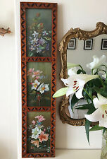 VERY RARE Antique Arts And Crafts Floral Triptych Oil Painting Carved Wood Frame