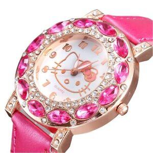 Hello Kitty Watch Gems Rhinestone Cartoon Kids Fashion Watches Gift For Girl