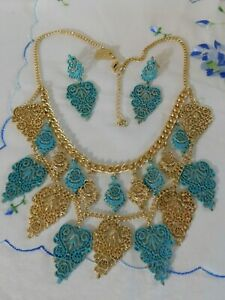 Off Park Necklace and Earrings Set. Turquoise Blue/Gold Filigree Metal