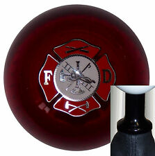 Red Fire Department Logo shift knob kit fits non-threaded Vw Audi 5 6 spd blk (Fits: Rabbit)