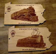 PRR Pennsylvania Railroad Shaped Engraved Wooden Signs / SET OF 2 Railroad Signs