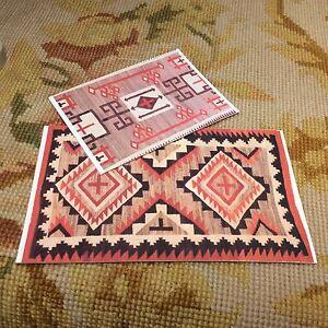 "1/2"" Pat Tyler Set Of 2 Dollhouse Miniature Floorcloths Covering Rug Carpet p102"