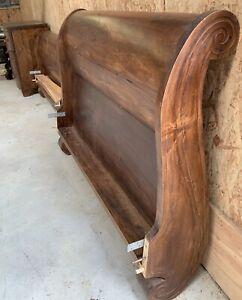 Massive Arhaus French Sleigh Bed Queen Size Stunning Headboard Footboard