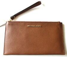 Michael Kors Jet Set Large Zip Leather Clutch Wristlet Bag Luggage Brown $98 NEW