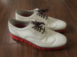 Cole Haan Zerogrand Grand OS Wing Tip Mens Size 10M Off White/Orange