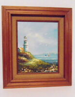 Brian Roche - Lighthouse Seascape - Signed Oil Painting - Nautical - Framed