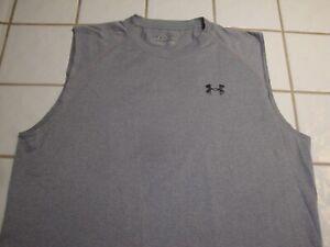 Under Armour  Sleeveless Athletic Shirt Gray HeatGear Loose Mens Large