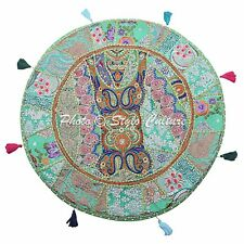 """Indian 32"""" Round Patchwork Embroidered Hassock Cotton Green Floor Cushion Cover"""