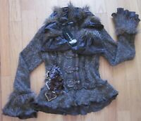 Beautiful Funky Button Up Gray LISSA Coat/Jacket - Ruffled UNIQUE LOOK -NEW Sz 6