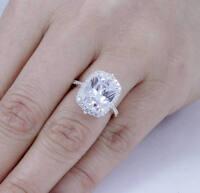 2.5Ct Emerald Cushion Halo Huge Diamond Halo Engagement Ring White Gold Over