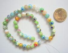 Hilo perlas cristal milflores 6 mm X 50 UNIDADES gama azul verde amari abalorios