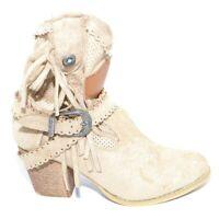 Tronchetti donna estivo camperos beige texani con tacco in legno comodo 5 cm fra