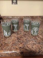 VTG JEANETTE GLASS Green 4 pc set of Glasses HELLENIC WEDGEWOOD ROMAN GRECIAN