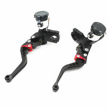 Pair Black Motorcycle Brake Clutch Levers Master Cylinder Reservoir Hydraulic