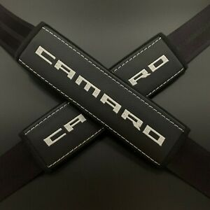 Chevrolet Camaro Black seat belt covers pads White embroidery 2PCS