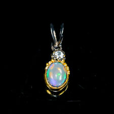 Beauty Rainbow8x6mm Natural Opal 925 Sterling Silver Pendant /NP07006