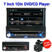 Single 1Din 7'' Car Stereo FM Car DVD/CD TV Player Touch Screen Bluetooth+Camera