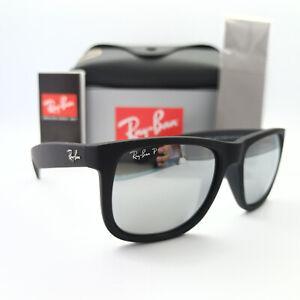 Ray-Ban Justin RB4165 Matte Black/Silver Mirror Polarized Sunglasses 622/6G 54MM