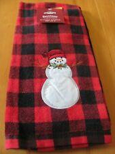 Nwt St. Nicholas Square Farmhous Kitchen Towels Set 2 Check Plain & Snowman