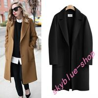 Womens England Loose Fit Long Coats Solid Jackets Lapel Plus Size Winter Warm