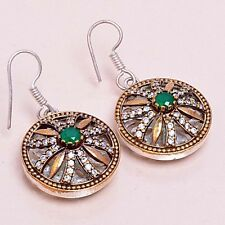 """EXCITED ! TURKISH 925 STERLING SILVER PLATED EMERALD TOPAZ EARRINGS SZ 1 3/4"""""""