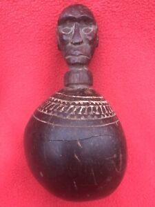 Carved Gourd & Wood Anthropomorphic Lime Container West Timor Indonesia