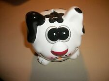 """New w/tag--4"""" Adorable ceramic dog-shaped """"piggy"""" bank, opening at bottom"""