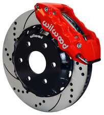 """WILWOOD DISC BRAKE KIT,FRONT,GMC,CHEVY TRUCK 1500,14"""" DRILLED ROTORS,RED CALIPER"""